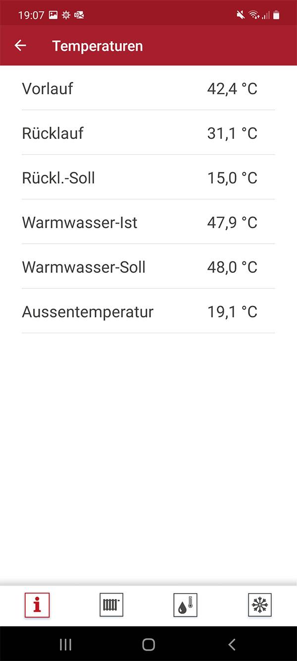 Screenshot der alpha control App zur Steuerung Ihrer Wärmepumpe